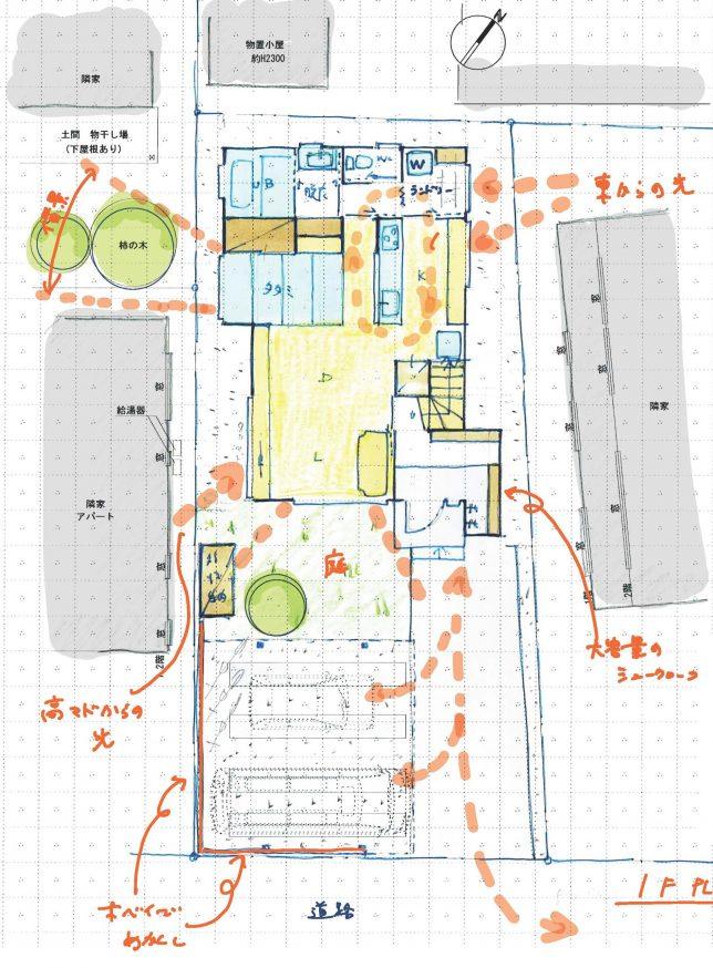 大島邸プラン手描き1F
